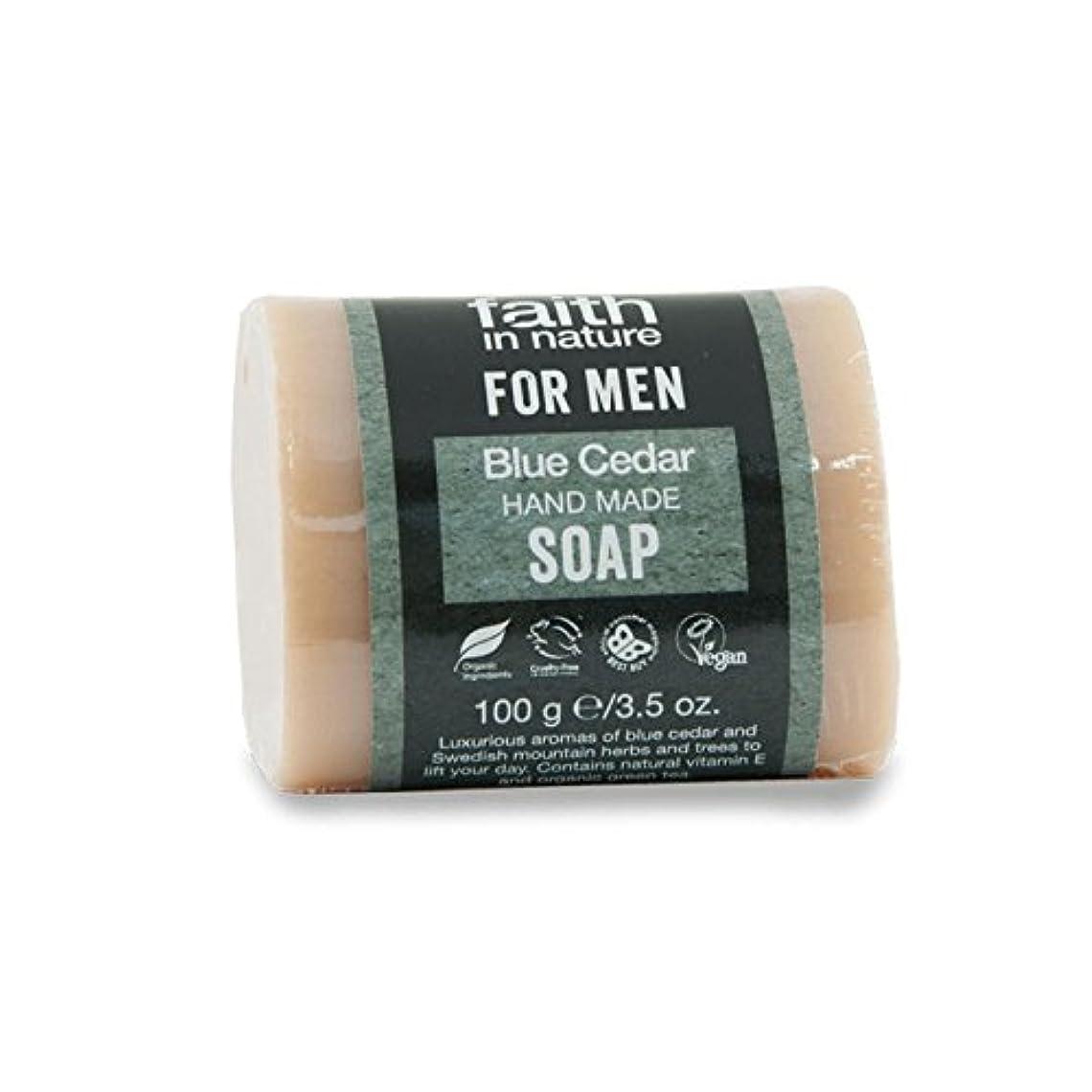 受賞リス恐ろしいですFaith in Nature for Men Blue Cedar Soap 100g (Pack of 6) - 男性青杉の石鹸100グラムのための自然の中で信仰 (x6) [並行輸入品]