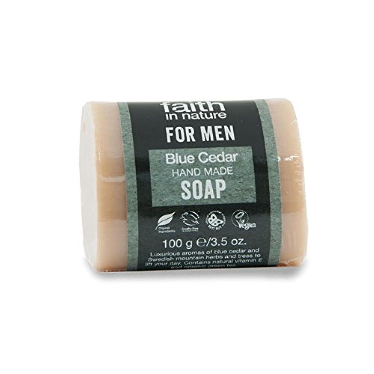 くちばし汚いフェミニンFaith in Nature for Men Blue Cedar Soap 100g (Pack of 6) - 男性青杉の石鹸100グラムのための自然の中で信仰 (x6) [並行輸入品]