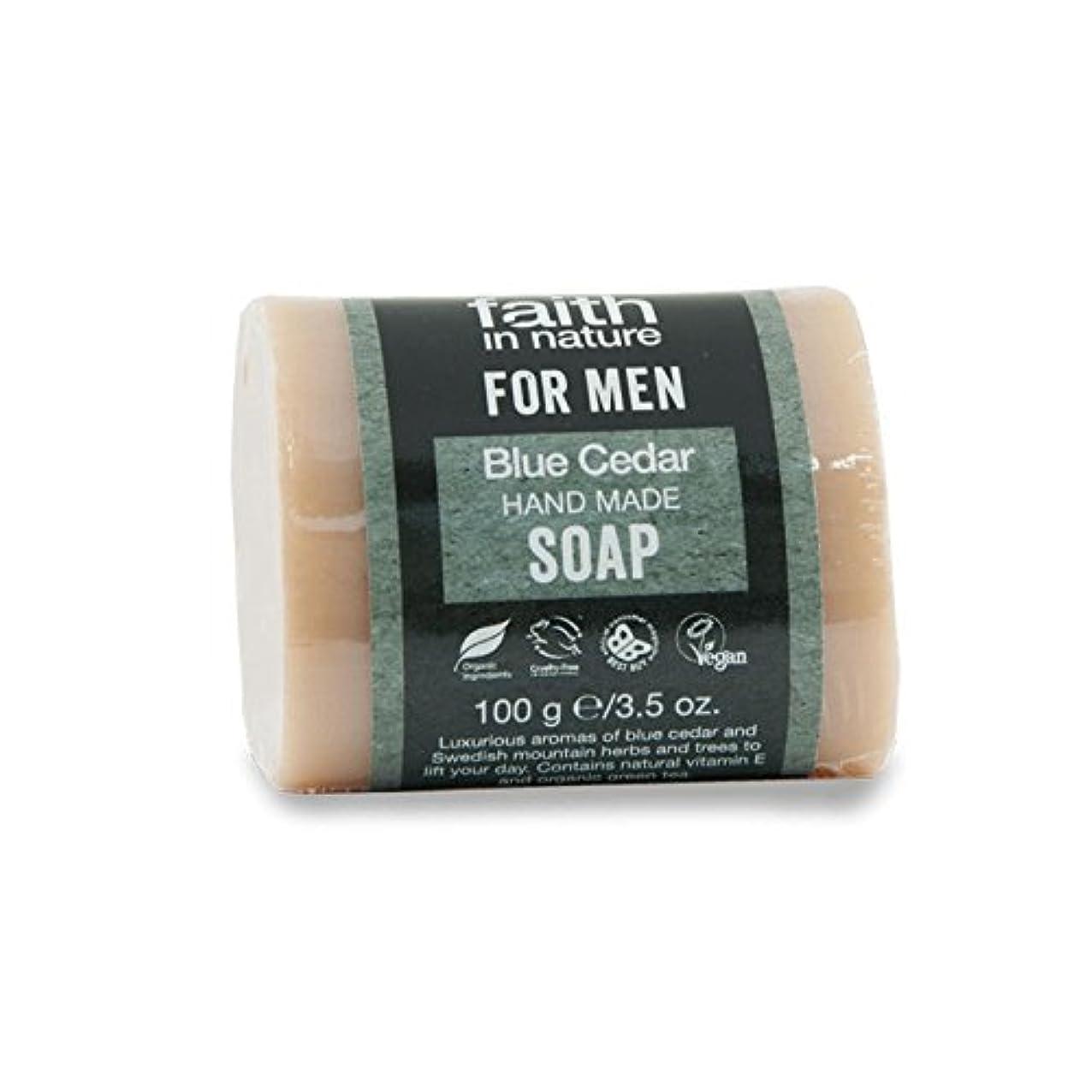 洗練水族館スチールFaith in Nature for Men Blue Cedar Soap 100g (Pack of 2) - 男性青杉の石鹸100グラムのための自然の中で信仰 (x2) [並行輸入品]