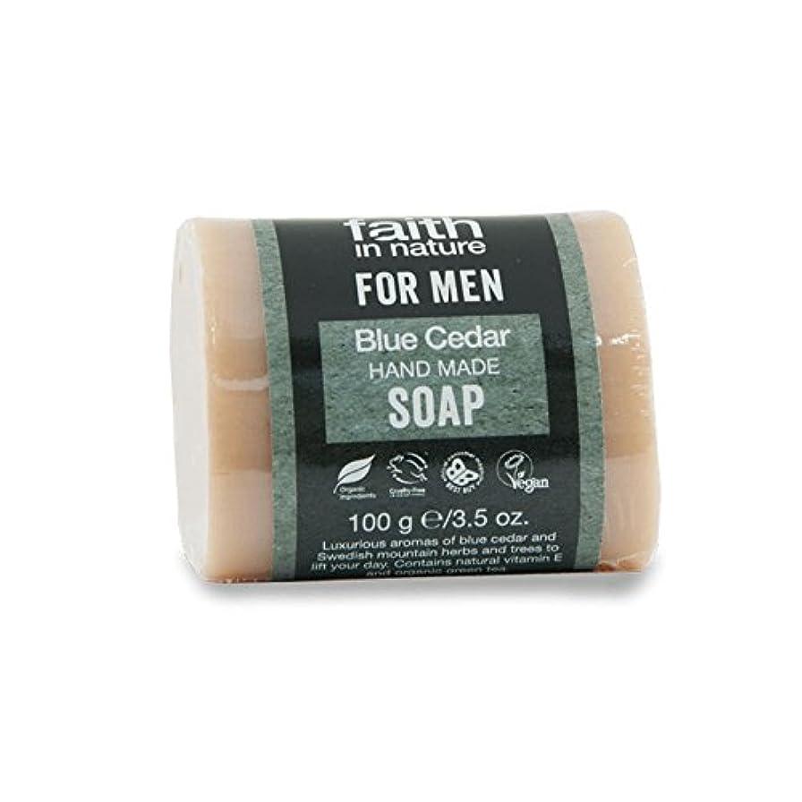 形容詞激しい残る男性青杉の石鹸100グラムのための自然の中で信仰 - Faith in Nature for Men Blue Cedar Soap 100g (Faith in Nature) [並行輸入品]