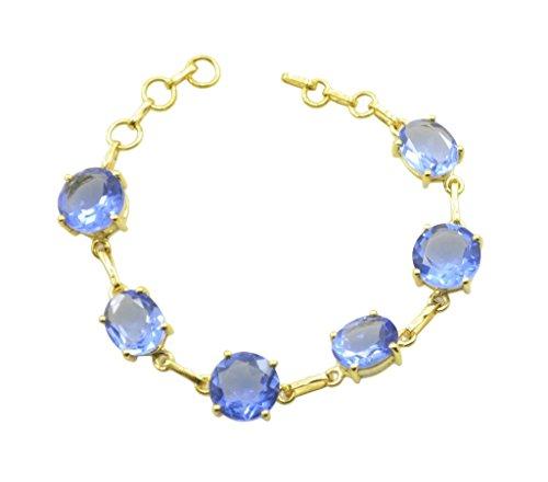 gemsonclick azul Shappire CZ chapado en oro Gemstone pulsera joyas _ gcb023