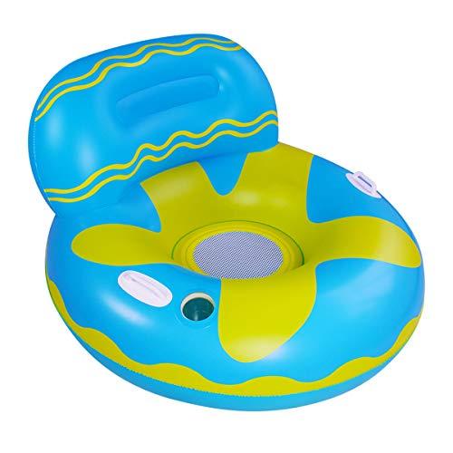DERCLIVE 1 flotador inflable de la piscina del sofá flotante de la piscina con las manijas ranura de la taza para el adulto, azul