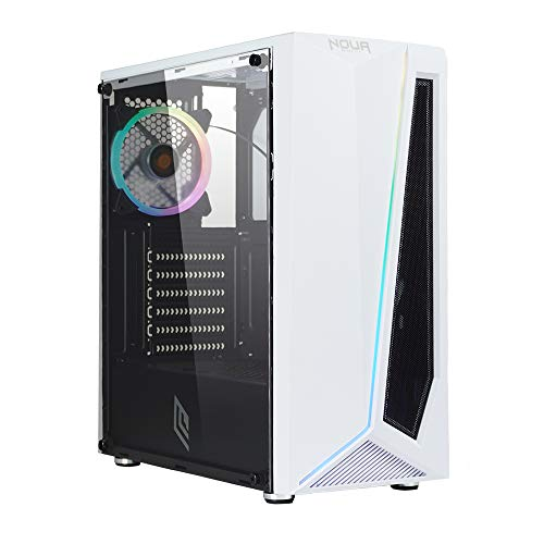 Noua Nexus P11 White Case ATX per PC Gaming 0.45MM SPCC 3*USB3.0 2.0 Ventola RGB Addressable 5V 3-Pin e Strip LED ADD-RGB Front Mesh ABS e Pannello Laterale in Vetro Temperato (AxPxL: 425x387x187 mm)