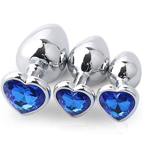 3Pcs/Set Crystal Diamond Smooth Stainless Steel Bûtt P'lúgs Luxury Gem Jeweled Metal Crystal, Men & Women Beginners Àmàl Pl'uĝs Massage Toys - Blue Heart Shaped Base