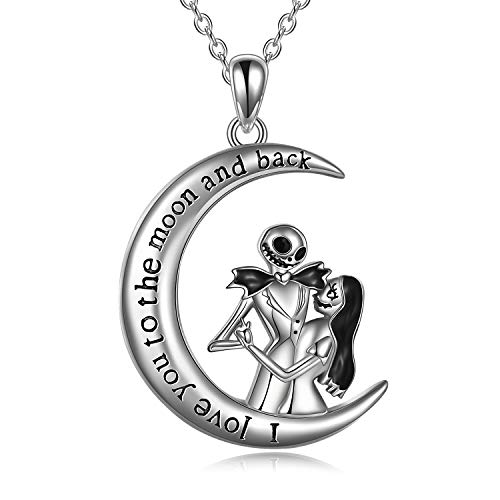 Nightmare Necklaces Before Christmas Gifts for Women 925 Sterling Silver Sally and Jack I Love You to The Moon and Back Skull Jewelry for Women Wife Girlfriend Couple