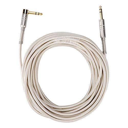 Audiokabel, 6,35 mm rechte kop man-man naar 90 graden elleboog stereo verlengkabel audiokabel connector draad voor elektrische gitaar, microfoon, versterker, enz(15M)