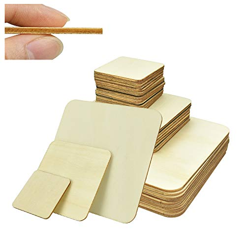 SSPECOTNR 42 pcs Natural Wood Slices 3 Sizes Blank Unfinished Wooden Squares Board Pieces Cutouts for DIY Crafts Pyrography Arts Painting Wood Burning Wedding Decorations Christmas Ornaments