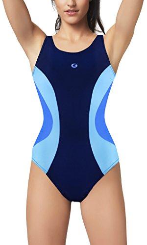 Gwinner Damen Badeanzug - für Sport und Freizeit - ideale Passform, resistent gegen UV und Chlor - herausnehmbare Körbchen - Paula, Navy/blau, 36
