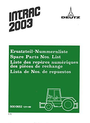 Deutz Ersatzteilliste für Traktor Intrac 2004