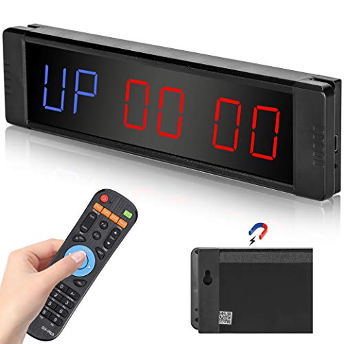 Spolehli LED Interval Timer Workout Gym Timer Magnetic Back Programmable Fitness Training Timer with Remote Control Count Down/Up Clock Stopwatch for Tabata FGB
