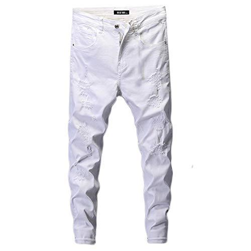 Vaqueros para Jeans Pantalones Jeans Rasgados para Hombres Skinny White Jeans Stretch Denim Pants Jeans Jeans para Hombre Marca Streetwear Biker Jeans Hombre Hip Hop Tamaño 32 Blan