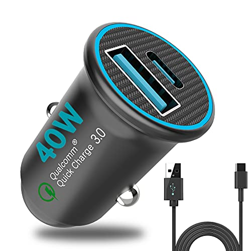 USB C Car Charger Free Charge Cable Mini 40W Fast Charger Cigarette Lighter Adapter PD&QC 3.0 Dual Port Compatible with iPhone 12/11/XR/XS/8/8P Samsung/S10/S9
