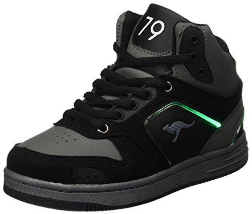 KangaROOS Unisex-Kinder K-BaskLED II Sneaker, Schwarz (Jet Black/Steel Grey), 33 EU