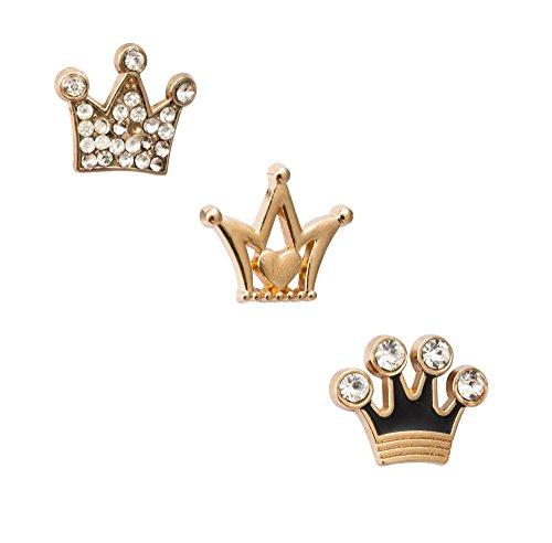 Knighthood Men's Set of 3 Formal King Crown Lapel Pins/Shirt Stud Golden