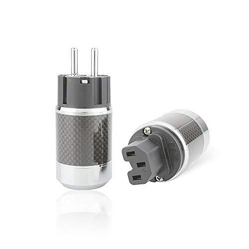 EU-Stecker Schukostecker Rhodium Stecker highend HiFi Netzstecker + IEC Buchse Power Plug Set,Schwarz