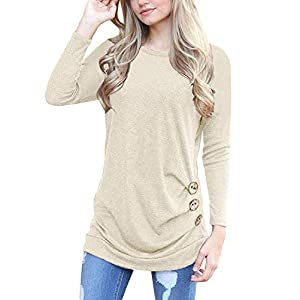 Women's Casual Long Sleeve Tunic Tops Fall Tshirt Blouses