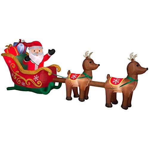 Gemmy Santa and Sleigh Reindeer Scene Inflatable Holiday Decoration