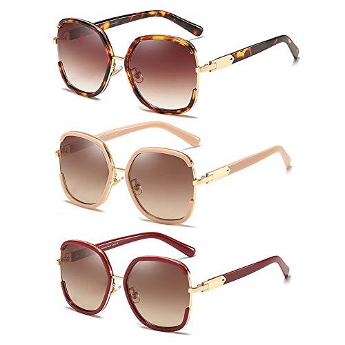 LVYY dames zonnebril Full Frame anti-UV trend glazen UV400 bescherming lens 3 paar Bright Black Frame