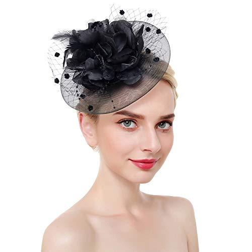 D&XQX Mujeres con Clip Diadema de Cocktail fascinador Sombrero Elegante con Encanto Malla Derby Boda Flor Fiesta de té Accesorios de Pelo Plumas,Negro