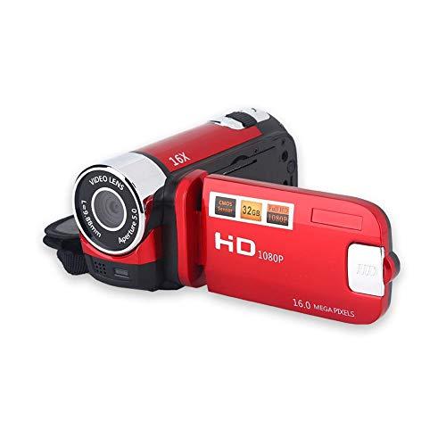 Tangxi Digitale Camcorder-Videokamera 1080P 16MP Full HD 270 ° Drehung Weitwinkel-Vlogging-Kamera Recorder 3,0-Zoll-IPS-Bildschirm 16-Fach Zoom-Camcorder NP5C-Lithiumbatterie 32 GB SD-Karte(Rot-EU)