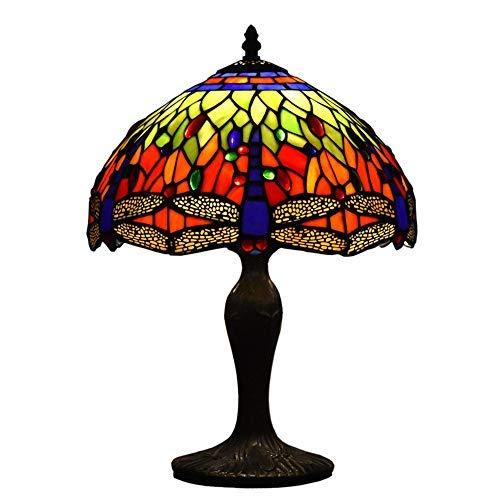 TTFFWW Estilo Tiffany Lámparas de Mesa de Vidrio de 12 Pulgadas Lámpara de Sombra de Libélula Patrón Base de Resina Iluminación Vintage Antigua para La Decoración del Hogar