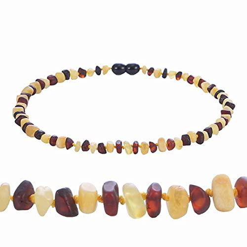 JIUXIAO Pulsera/Collar de dentición ámbar de 16 Colores para bebé Adulto Probado en Laboratorio auténtico 8 tamaños joyería de Mujer de Piedra ámbar Natural