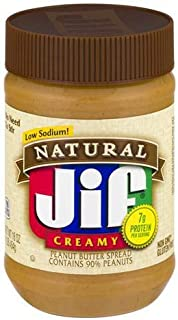 Jif Natural Creamy Peanut Butter - 16.0 Oz. (Pack of 2)