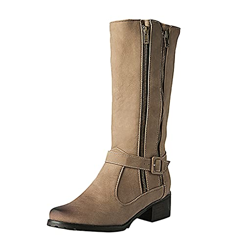 Autumn Winter Boots for Women Fashion Buckle Thick Heel Casual Mid-Tube Boots Solid Color Double Zipper Booties Beige