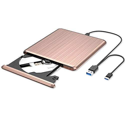 VersionTECH. 外付け DVD CD ポータブル ドライブ PCドライブ DVDプレーヤー CD/DVD読取・書込 DVD±RW CD-RW Type-C USB3.0 USB2.0 Windows/Linux/Mac OS対応 ピンク