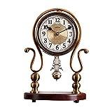 Hong Yi Fei-Shop Relojes de Suelo Mesa Reloj de Mesa Reloj Sala de Estar casa Moda Americano Arte Antiguo Retro Mesa Sentado Mesa Metal Silencio Reloj Ornamentos 12 Pulgadas Relojes despertadores