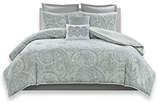 Comfort Spaces Kashmir 8 Piece Comforter Set Hypoallergenic Microfiber Lightweight All Season Paisley Print Bedding, King, Soft Blue