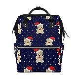 Emoya Mochila Escolar de Estilo Doctor, con diseño de Oso de Navidad, Gorro de Papá Noel, con Lunare...
