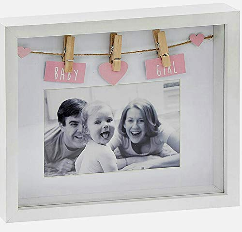 Lesser & Pavey 'BABY GIRL' 3D Deep.Box Photo Picture Frame for 6' by 4' Photograph with Pegs and Depth to Personalise with Special Keepsake Momentoes