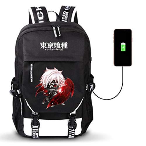Leegt Mochila De Dibujos Animados De Anime Tokyo Ghoul USB Cosplay Mujeres Hombres Bolsa De Viaje Informal Mochilas Escolares