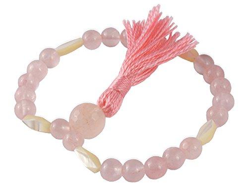 Chin Mudra Mala Meditation, 27 parels, rozenkwarts & parelmoer