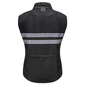 WOSAWE Hombres Ropa Ciclismo, Transpirable Chaqueta de Ciclismo Cortavientos Alta Visivilidad Chaleco Reflectante de MTB (BL205 Chaleco Negro L)
