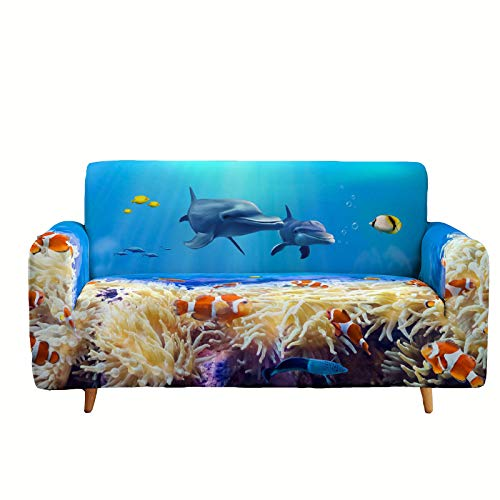 Wangxin Ocean Series Printed Sofa Cover, Dustproof, Non-Slip, High Elasticity, All Seasons, 1 2 3 4 Seat Sofa Cover, Simple Furniture Cover G-3 seats