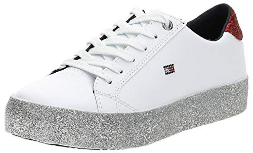 Tommy Hilfiger Damen Corporate Crystal Dress Sneaker, Weiß (White 100), 40 EU