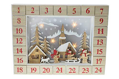 Clever Creations - Calendario dell'Avvento da 24 Giorni - Vivace Decorazione Natalizia con Villaggio innevato Che Si Illumina - in Legno Robusto - 43 x 10 x 44 cm