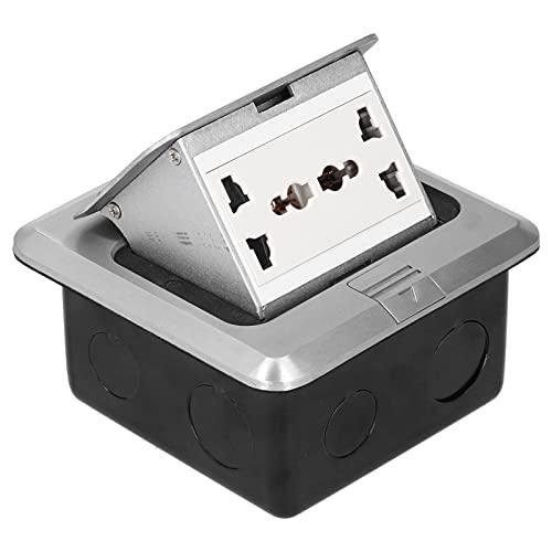 Caja De Enchufe De Suelo De 250 V CA, Enchufe De Tierra De 6 Orificios, Caja De Cubierta De Toma De Corriente Eléctrica De Aleación De Aluminio, Amortiguación Integrada 13A