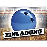16 Einladungskarten zum Kindergeburtstag Bowling-Kugel Party - Einladungen für Kinder zum Geburtstag im Set