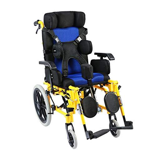 Silla de ruedas autopropulsada, adultos con parálisis cerebral, discapacitados y usuarios discapacitados, silla de ruedas portátil Silla de ruedas de cama plana totalmente reclinable, con mesa de co