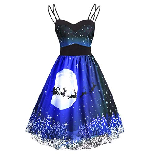 TEELONG Kleider Damen Damenmode Vintage Weihnachten ärmelloses V-Ausschnitt gedruckt Cami Kleid Ballkleid Partykleid Cocktailkleid(XXXXXL, Blau)