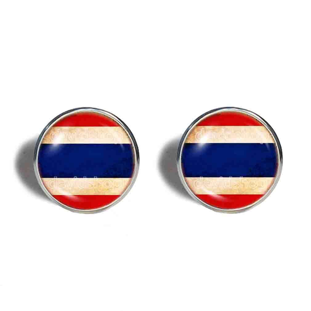 In a Atlanta Mall popularity Thailand Thai Flag Earrings Fashion Art Cute Imag Symbol Jewelry