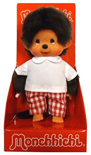 Sekiguchi 242856 - Original Monchhichi Junge, aus braunem Plüsch, mit Hemd und Hose, ca. 20 cm