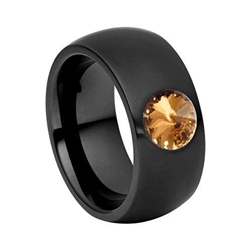 Heideman Ring Damen Coma 11 aus Edelstahl schwarz matt Damenring für Frauen mit Swarovski Stein Kristall Bernstein braun im Fantasie Edelsteinschliff 8mm