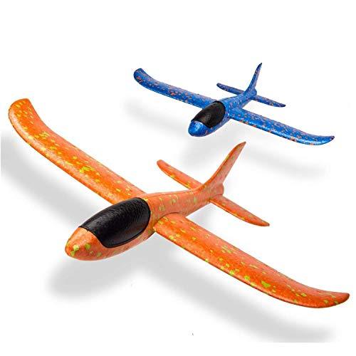 Segelflugzeug, 2 Stück Auswurf Schaum Segelflugzeug, Flugzeug Spielzeug Kinder Styroporflieger, Flugzeuge Styropor, Manuelles Werfen Flugzeug, Modell Schaum Flugzeug