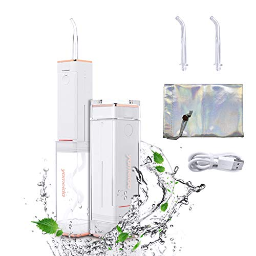 Irrigador Bucal, Portátil y Retractil Eléctrico con 2 Boquillas USB, Irrigador Dental...