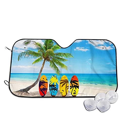 Parasol para Coche,Tablas de Surf Beach Palm Tree,Parabrisas de prevención de Calor Parasol Protector de Visera de Rayos UV 55'X29.9'