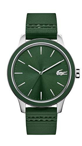 Lacoste Reloj de cuarzo para hombre de acero inoxidable 12.12 con correa de silicona, color verde, 20 (modelo: 2011085)